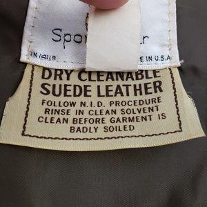 Vintage Jackets & Coats - Vintage Tan Suede Fringe Concho Vest
